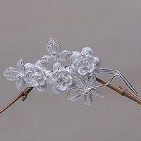 Sterling silver brooch pin, 'Silver Bouquet' - Floral Filigree Sterling Silver Pin