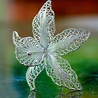 Sterling silver brooch pin, 'Orchid Filigree' - Sterling silver brooch pin