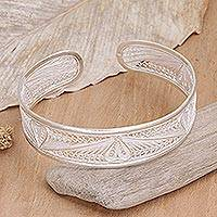 Sterling silver cuff bracelet, 'Nature's Heart' - Heart Shaped Sterling Silver Cuff Bracelet