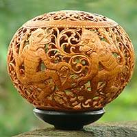 Coconut shell sculpture, 'Monkey Business' - Coconut shell sculpture