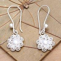 Sterling silver flower earrings, 'Chamomile Blossoms' - Sterling silver flower earrings