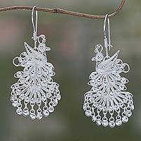 Sterling silver chandelier earrings, 'Royal Peacock' - Animal Themed Sterling Silver Chandelier Earrings