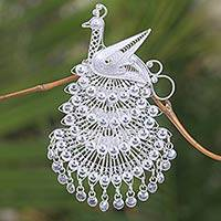 Sterling silver brooch pin, 'Royal Peacock' - Sterling Silver Filigree Bird Brooch Pin