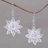 Sterling silver flower earrings, 'Dancing Gardenia' - Floral Sterling Silver Filigree Earrings