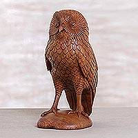Wood sculpture, 'Night Owl' - Handcrafted Wood Bird Sculpture