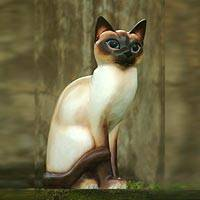 Wood sculpture, 'Siamese Cat' - Wood sculpture