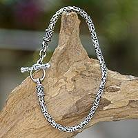 Sterling silver braided bracelet, Balinese Grace