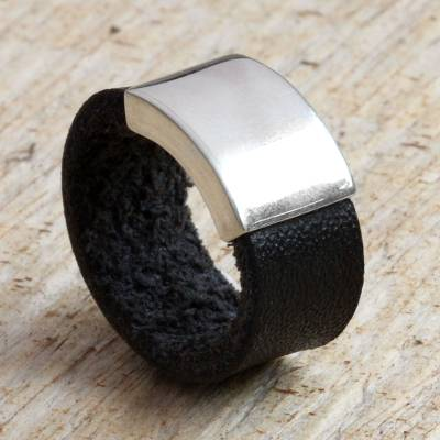 Leather ring, 'Challenge' - Modern Sterling Silver and Leather Band Ring