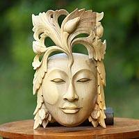 Wood mask, 'Crowned by Nature'