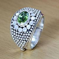 Peridot band ring, 'Floral Creation' - Balinese Sterling Silver and Peridot Cocktail Ring