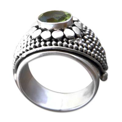 Balinese Sterling Silver and Peridot Cocktail Ring