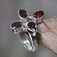 Garnet cocktail ring, Blossom of Fire