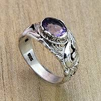 Amethyst solitaire ring, 'Feminine Charm' - Floral Sterling Silver and Amethyst Ring