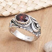 Garnet solitaire ring, 'Feminine Charm' - Unique Sterling Silver and Garnet Ring