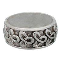 Sterling silver band ring, 'Memories'