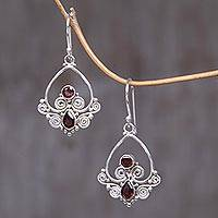 Garnet dangle earrings, 'Heart in Love' - Heart Shaped Garnet Sterling Silver Earrings