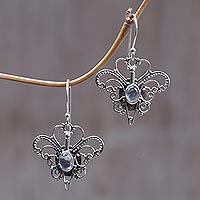 Rainbow moonstone dangle earrings, 'Butterfly Love' - Rainbow Moonstone Sterling Silver Dangle Earrings