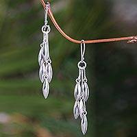 Sterling silver dangle earrings, 'Rice Seeds'