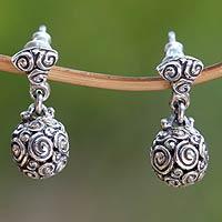 Sterling silver dangle earrings, 'Spiral Spheres'