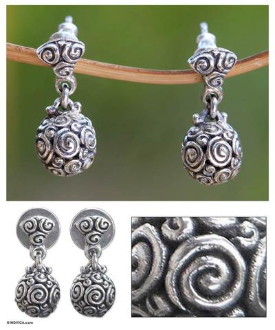 Sterling silver dangle earrings, 'Spiral Spheres' - Sterling Silver Dangle Earrings from Indonesia