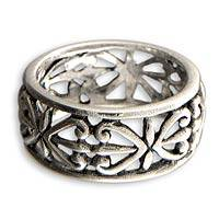 Sterling silver band ring, 'Understanding'