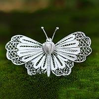Sterling silver brooch pin, 'Queen Butterfly' - Handmade Sterling Silver Filigree Brooch Pin