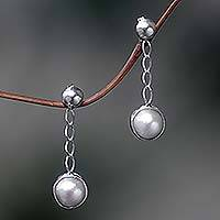 Pearl dangle earrings, 'Suspense' - Indonesian Sterling Silver Pearl Dangle Earrings