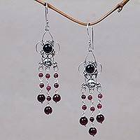 Garnet chandelier earrings, 'Princess Dew' - Garnet chandelier earrings