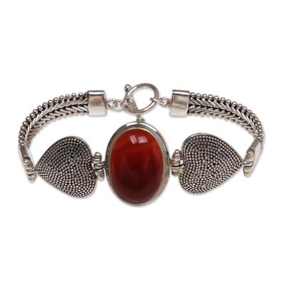 Carnelian Heart Shaped Sterling Silver Bracelet