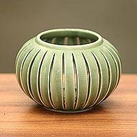 Ceramic candleholders, 'Onion' (pair) - Green Ceramic Candle Holders from Indonesia (Pair)