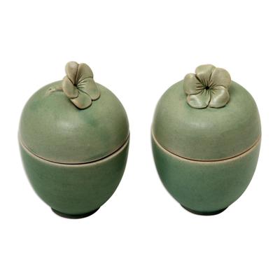 Green Floral Ceramic Jars (Set of 4)