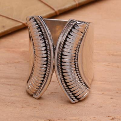 Sterling silver wrap ring, 'Encounters' - Hand Crafted Sterling Silver Wrap Ring