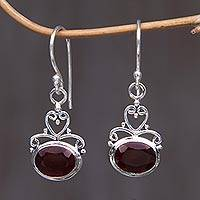 Garnet dangle earrings, 'Indonesian Romance' - Sterling Silver Garnet Dangle Earrings