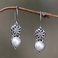 Pearl earrings, 'White Lily' - Sterling Silver Pearl Drop Earrings