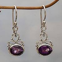 Sterling silver amethyst earrings, 'Indonesian Romance' - Sterling silver amethyst earrings