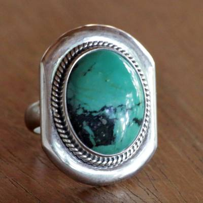 Silver necklace with black pendant - Sterling Silver Cocktail Ring with Reconstituted Turquoise