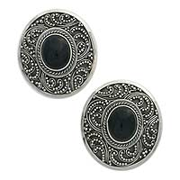 Onyx clip-on earrings, 'Midnight Beauty' - Sterling Silver Onyx Button Clip On Earrings