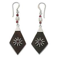 Garnet and pearl dangle earrings, Ray of Light