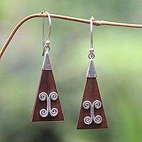 Sterling silver dangle earrings, 'Triangle' - Wood and Sterling Silver Dangle Earrings