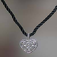 Heart pendant necklace, 'Heart Song' - Fair Trade Sterling Silver Pendant Necklace