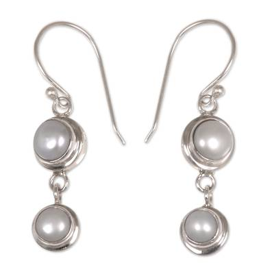 Pearl dangle earrings, 'Two Full Moons' - Pearl Sterling Silver Dangle Earrings