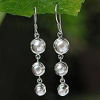 Pearl dangle earrings, 'Three Full Moons' - Pearl Sterling Silver Dangle Earrings