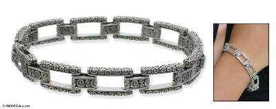 Sterling silver link bracelet, 'Complexity' - Sterling Silver Link Bracelet