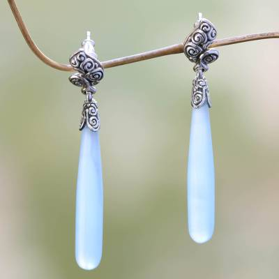 Agate drop earrings, 'Blue Honeysuckle' - Sterling Silver Agate Drop Earrings
