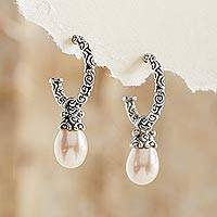 Cultured pearl dangle earrings, 'Blushing Rose' - Sterling Silver Pearl Half Hoop Earrings