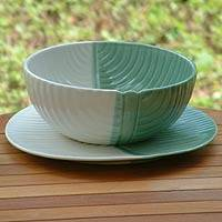 Ceramic bowl and plate set, 'Opposite Attraction' - Ceramic bowl and plate set