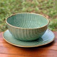 Ceramic bowl and plate set, 'Banana Ripple' - Indonesian Ceramic Bowl and Plate Set