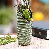 Ceramic vase, 'Banana Roll' - Artisan Crafted Ceramic Banana Leaf Theme Vase
