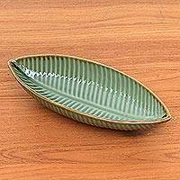 Ceramic bowl, 'Banana Bowl' - Ceramic Banana Leaf Bowl from Indonesia