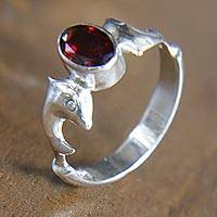 Garnet solitaire ring, 'Dolphin Dance' - Sterling Silver Dolphin Ring with Garnet